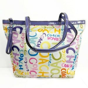Coach Signature Colorful Canvas Doodle Tote f19419